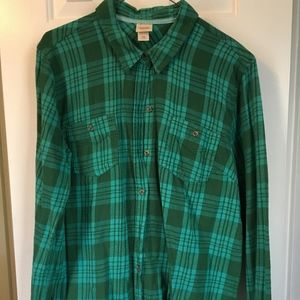 Blue and Green Light Flannel Button Down